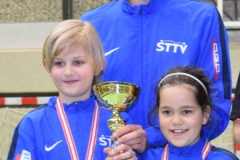 U11 Mixed Team 2.Platz-Julia Dür, Simon Sams mit Tobias Meusburger