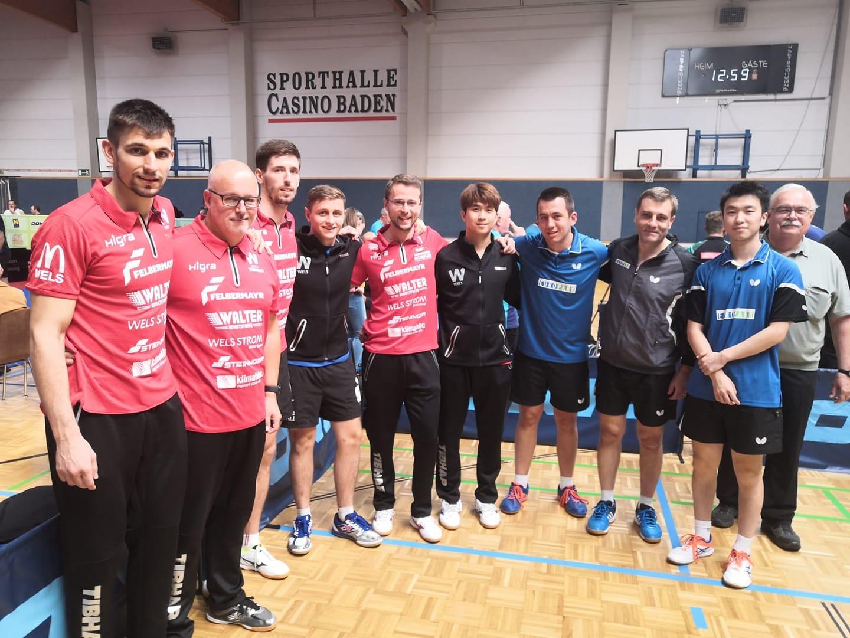 Unser Team UTTC Salzburg 1 mit dem Team Walter Wels 1 beim Bundesliga Opening in Baden