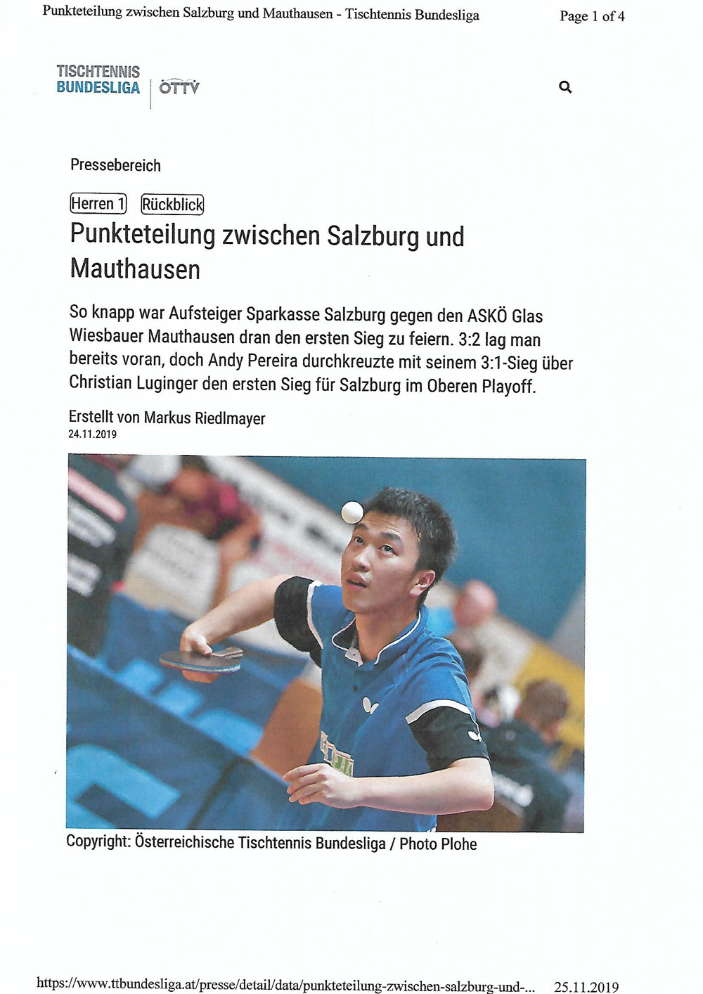 Pressebericht der Bundesliga 24.11.2019